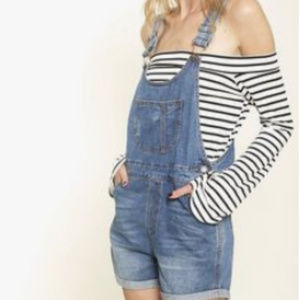 NWT The Hanger Denim overall shorts Size Large